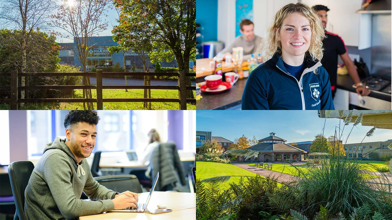 Virtual Open Days collage with green campus photos and students