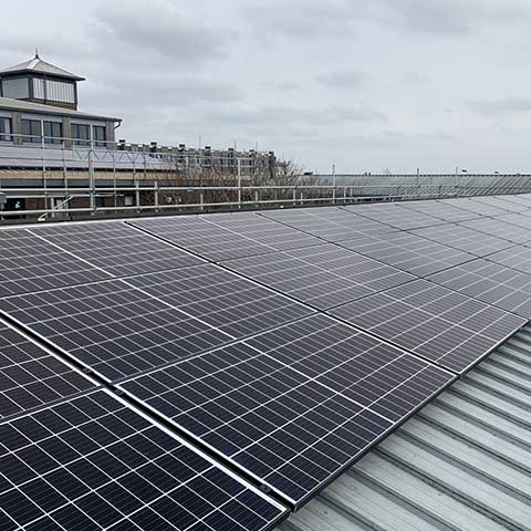 Solar panels being fitted at Marjon