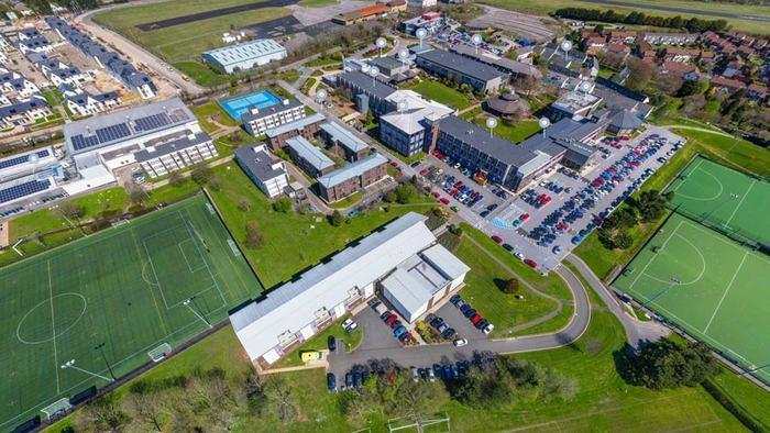 Aerial photo of the Marjon campus