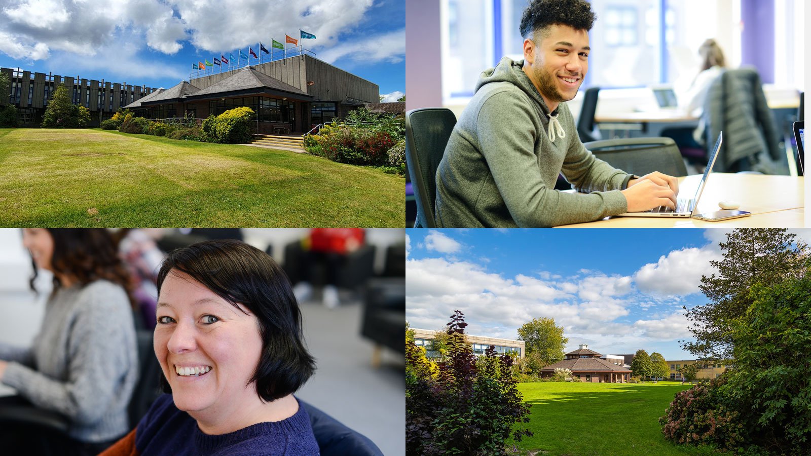 A collage of photos of Marjon campus and students