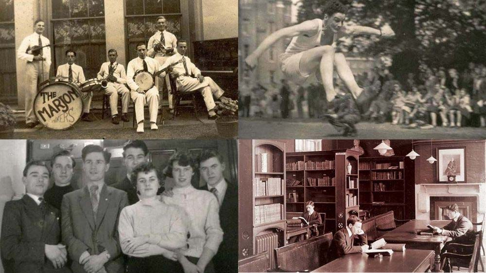 Collage of old black and white Marjon photos