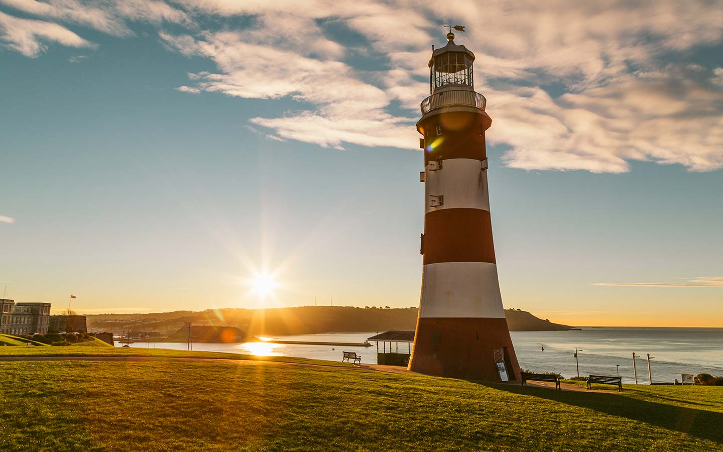 Sunset at Smeatons Tower lighthouse in Plymouth